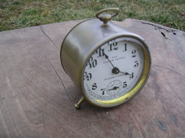 Miniature-New-Haven-Antique-Alarm-Clock-Junior-Tattoo