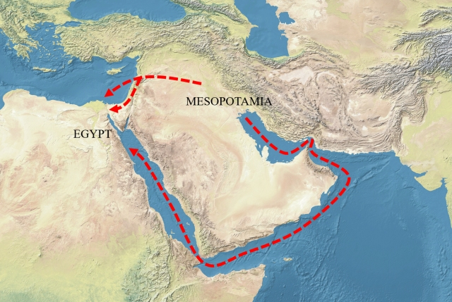 Mesopotamia-Egypt_trade_routes